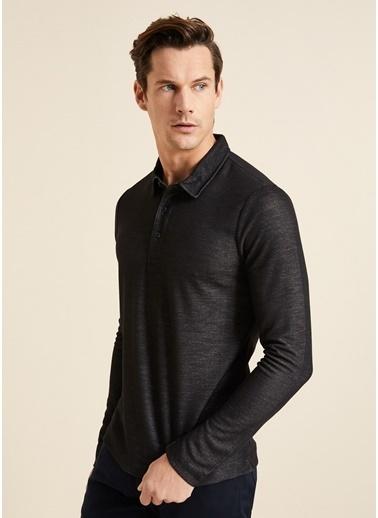 Bisse BSW19K19506 Slim Fit Dokulu Polo Yaka Sweatshirt Siyah